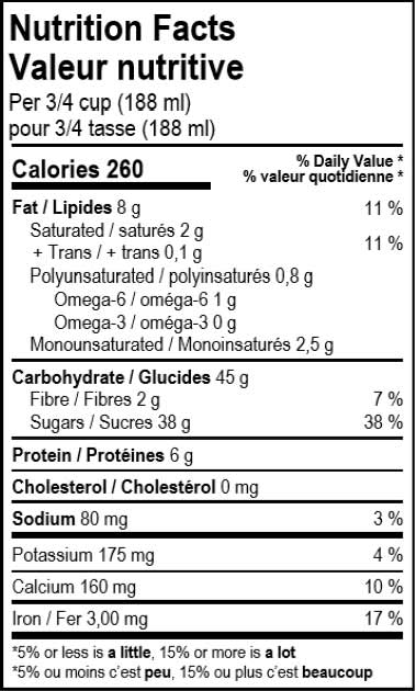 valeur nutritive du dessert glacé vegan au chocolat Solo Fruit
