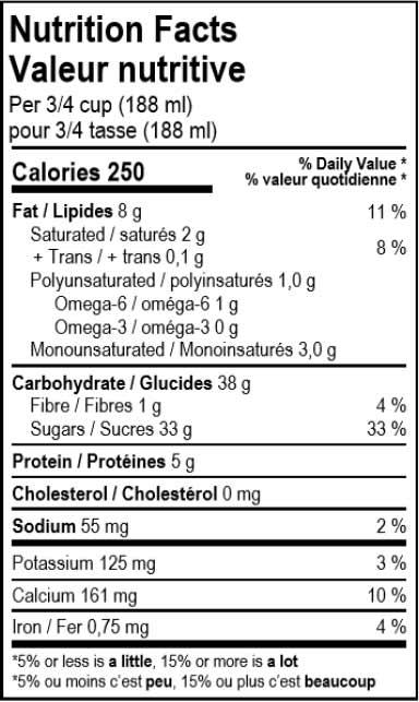 valeur nutritive du dessert glacé vegan à la vanille Solo Fruit