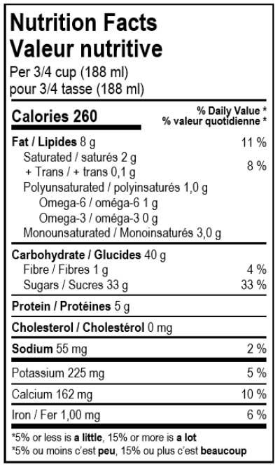 valeur nutritive du dessert glacé vegan au café Solo Fruit