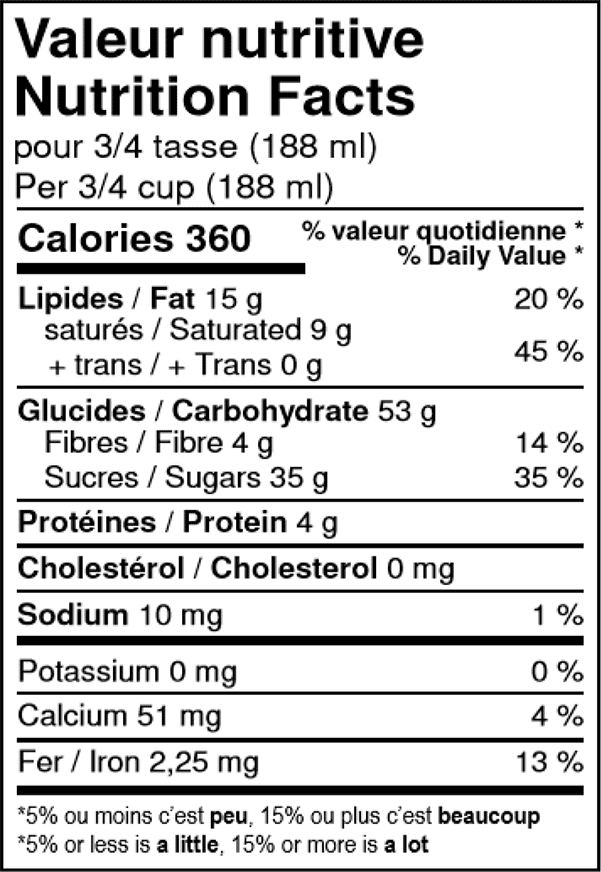 valeur nutritive du sorbet au chocolat noir biologique Solo Fruit