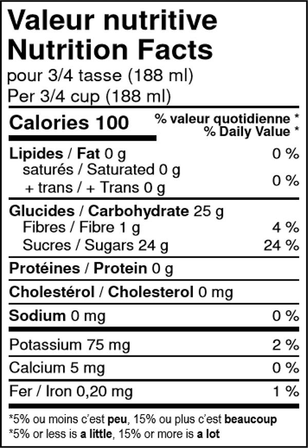 valeur nutritive du sorbet à la poire biologique Solo Fruit