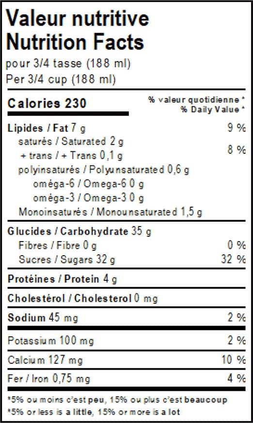valeur nutritive du dessert glacé vegan à la fraise et vanille Solo Fruit