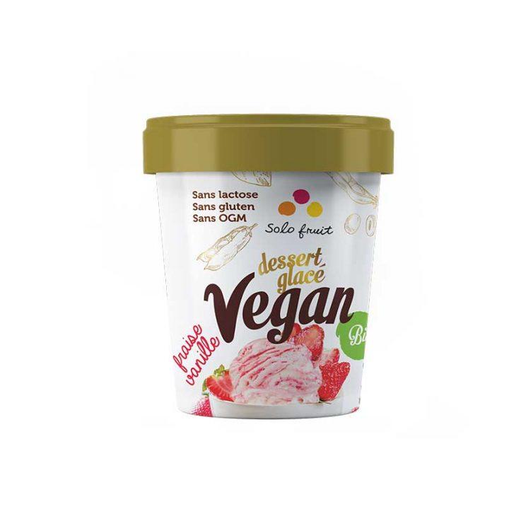 Dessert glacé vegan à la vanille et fraise